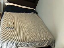 West Elm Belgian Linen Duvet Cover Bed Set Flax Midnight Platinum Striped Queen