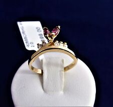 9CT SOLID YELLOW GOLD RING 2 (4x3)mm marquise RH/garnets & 5 diamonds-2.0gr.