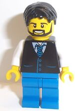 Lego Male Minifigure Man x 1 Black Hair with Waistcoat Outfit Lego Minifig