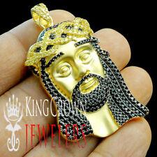 Yellow Gold Tone Black & Canary Jesus Head Face Charm Pendant Men's New Silver