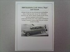 1960 Studebaker Lark factory cost/dealer sticker prices for car and options $$$$