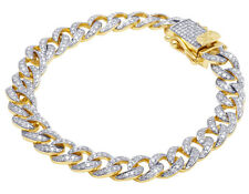 10K Yellow Gold Cuban Link Real Diamond Bracelet 4.0CT 9mm 8""