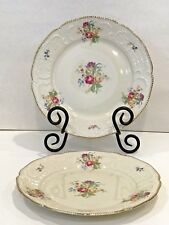 2 ROSENTHAL Sanssouci Continental Salad Plates Ivory Gold Trim Germany Embossed