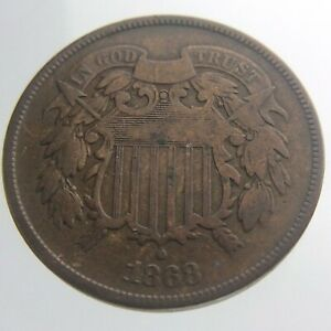 1868 United States America 2 Cents KM 94 Circulated Coin V657