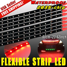 8X Pure Red Flexible Strip 60cm Car Motorcycle 2835 Lights Waterproof DIY Design