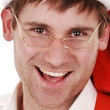 Gold santa no lens glasses frames mrs claus specs costume accessory Dr Toms