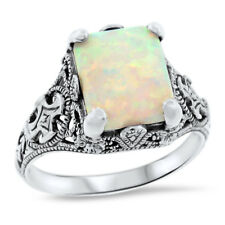 Opal Filigree Ring Size 10, #932 Antique Style 925 Sterling Silver White Lab