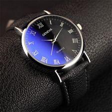 Fashion Men Steel Quartz Watch Black White Brown Leather Band Analog Wristwatch