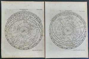 18th C. Astrology Maps of the Stars North & South Hemispheres