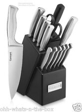 Knives Chef Santoku Butcher Block Stainless Steel Knife Cuisinart  Cutlery 15PCS