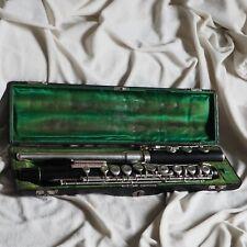 Antique Flute Classic Music Ebony Wood Wind Instrument Philharmonic Leather Box