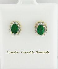 GENUINE 1.26 Cts EMERALDS & DIAMOND STUD EARRINGS 10K GOLD * Free Certificate *