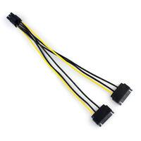 Power Cable Dual 2 SATA 15 Pin Male M to PCI-e Express Card 6 Pin Female 20cm