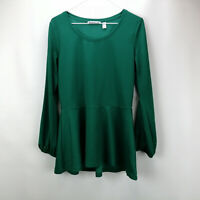 Isaac Mizrahi Live! Pebble Knit Bishop Sleeve Peplum Top Jewel Green XS A311369