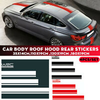 Car Body Roof Hood Cover Trunk Vinyl Decal Sticker Racing Stripes Set Universal