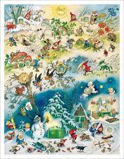 """Nostalgischer Adventskalender """"Vier Jahreszeiten"""" Fritz Baumgarten, 43 x 55 cm"""