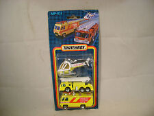 1987 MATCHBOX SUPERFAST MP-103 3 PIECE AIRPORT FIRE GIFT SET MOC