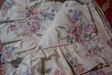 FLAT SHEET VICTORIA ELIZABETH GRAY JC PENNEY CROSCILL FULL RUFFLE COTTAGE