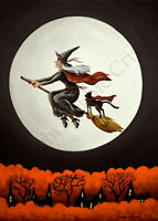 Print of folk art painting Halloween witch flying black cat crow vintage look DC