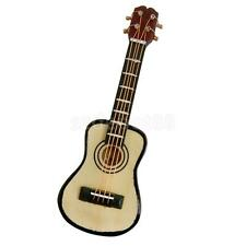 1:12th Scale Wood Guitar & Case & Stand Dolls House Miniature Instrument