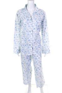 India Amory Womens Printed Pants Shirt Pajama Set White Blue Size Medium