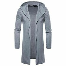 Mens Long Sleeve Hooded Med Length Jacket Trench Coat New Casual Fall Spring Fit