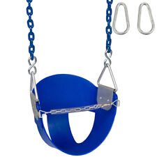 SWING SET STUFF HIGHBACK 1/2 BUCKET SEAT BLUE  WITH 8 1/2 FT COATED CHAIN 0049