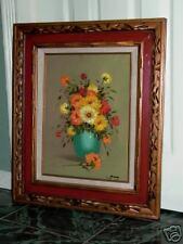 C Garry Oil on Canvas Painting Still Life Vase Flowers