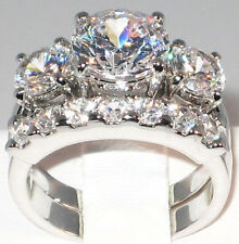 5.1 CT. BOLD Past Present & Future CZ Bridal Engagement Wedding Ring Set- SIZE 6