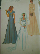 Vintage McCalls 3770 High Waisted Bridal Dress Gown Sewing Pattern Women Sz  7