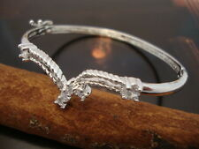 Clear Crystal Cocktail Bangle Bracelet Silver Plated Brass Fine (TO377)
