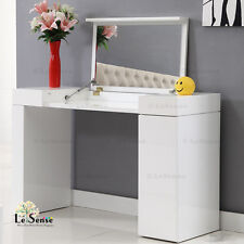 New High Gloss White Dressing Table Console Mirror 2 Drawer Storage Makeup Desk