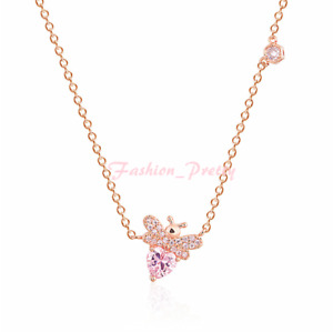1.5 Carat Pink Topaz Bee Necklace in 14K Rose Gold Over Sterling Silver,18 Inche