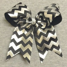 Black and Silver Foil Chevron Cheer / Softball / Volleyball Bow - Handmade