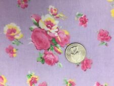 FLANNEL FABRIC ROSES  Lavender Purple Pink Bouquet Tossed Yellow Cotton BTY 682