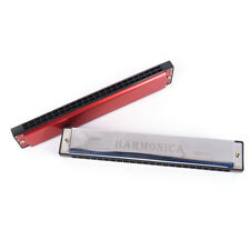silver/red 24 Holes Tremolo Harmonica Mouth Organ Key of C for Beginne BC