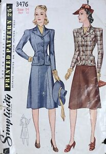 Vtg 1940s Simplicity 3476 Fitted Suit Dress Skirt Jacket SEWING PATTERN 14
