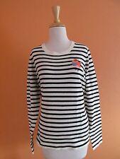 New J Crew Size L Black+White Stripe Embroidered Bird Cotton Sweater