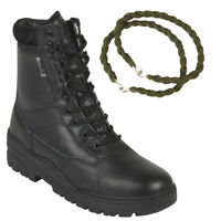 BLACK PATROL COMBAT BOOTS LEATHER ARMY TACTICAL MILITARY WITH TROUSER TWISTS