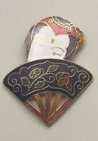 Vintage lady fan Brooch pin Cloisonne enamel on metal