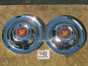 """1951, 52, 53 CADILLAC SOMBRERO 15"""" AFTERMARKET WHEEL COVERS, HUBCAPS PAIR OF 2"""