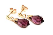 9ct Gold Purple Swarovski Crystal Elements drop earrings Boxed Made in UK