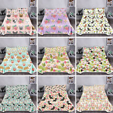 Floral Dogs Kids Blanket Warm Quilt Summer with Pillowcase Comforter 3 Pieces