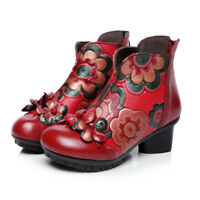 Sofia Women's Handmade Leather Boots Vintage Ethnic Style Flower Ankle Shoes