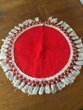 Vintage Mini Christmas Tree Skirt Red White Fringe Felt 17 Inch Round