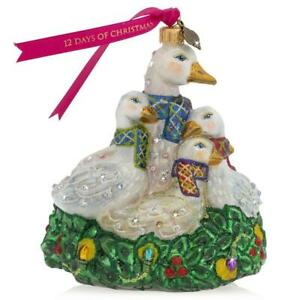 """Jay Strongwater Six Geese A Laying Ornament 5 1/4"""" SDH 2322-250"""