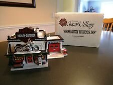 Dept 56 Snow Village Harley Davidson Motorcycle Shop and light With Box 54886