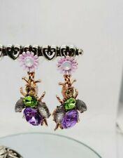 """Bumble Bee Chandelier Dangle Earrings Silver Purple Crystal 1.5"""""""