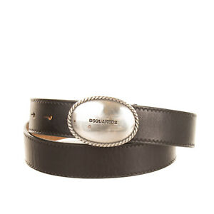 RRP €180 DSQUARED2 Leather Belt Size 95/38 Engraved Blank Buckle Made in Italy
