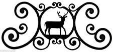 """Deer Indoor Outdoor Over Door House Sign Black Wrought Iron Handmade in USA 24""""L"""